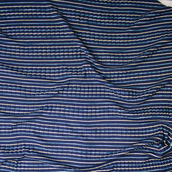Yellow, White, and Light Blue Stripes on Navy Ribbed Midweight Sweater Knit Fabric By The Yard - Wide shot