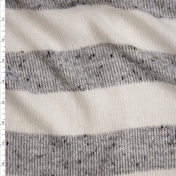 d993c8b0e3e Grey and Offwhite Horizontal Stripe Soft Sweater Knit Fabric By The Yard ...