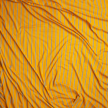 Black and White Narrow Vertical Stripe on Goldenrod Yellow Double Brushed Poly Spandex Fabric By The Yard - Wide shot