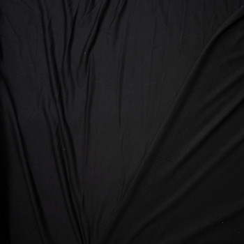 Black Lightweight Poly/Rayon French Terry Fabric By The Yard - Wide shot