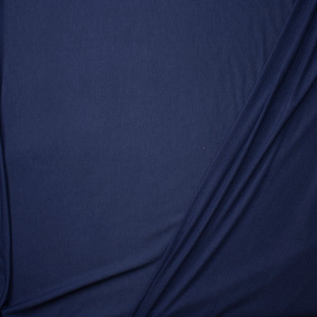 Navy Blue Lightweight Poly/Rayon French Terry Fabric By The Yard - Wide shot