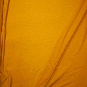 Mustard Lightweight Poly/Rayon French Terry Fabric By The Yard - Wide shot