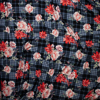 Red and Pink Rose Floral on a Black and Grey Plaid Double Brushed Poly Spandex Fabric By The Yard - Wide shot