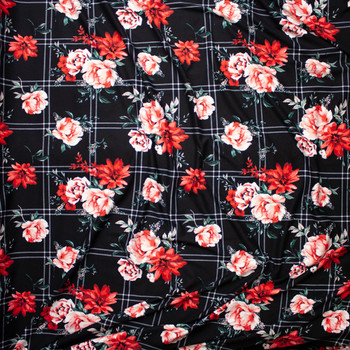 Red and Pink Rose Floral on a Black and White Plaid Double Brushed Poly Spandex Fabric By The Yard - Wide shot