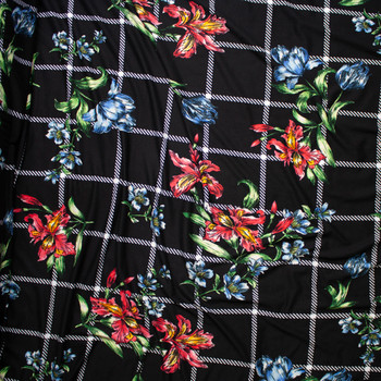 Sketchbook Daffodil Floral on Black and White Plaid Double Brushed Poly Spandex Fabric By The Yard - Wide shot