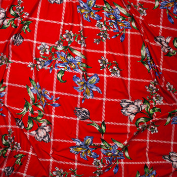 Sketchbook Daffodil Floral on Red and White Plaid Double Brushed Poly Spandex Fabric By The Yard - Wide shot