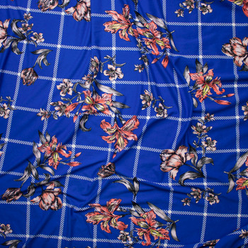 Sketchbook Daffodil Floral on Blue and White Plaid Double Brushed Poly Spandex Fabric By The Yard - Wide shot