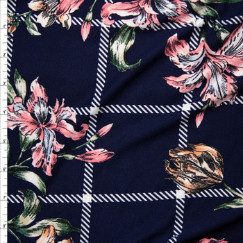 Sketchbook Daffodil Floral on Navy Blue and White Plaid Double Brushed Poly Spandex Fabric By The Yard