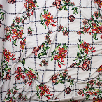 Sketchbook Daffodil Floral on White and Black Plaid Double Brushed Poly Spandex Fabric By The Yard - Wide shot