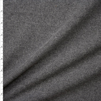 Charcoal Heather Lightweight Solid Wool Coating Fabric By The Yard