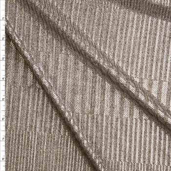 Silver Stripe Pattern on Warm Heather Grey Stretch Ribbed Knit Fabric By The Yard