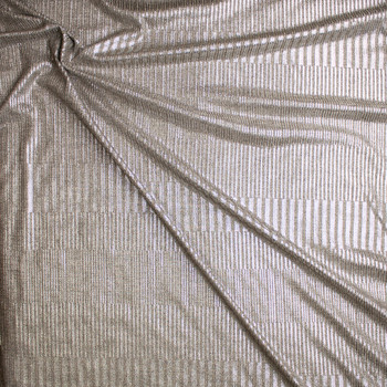 Silver Stripe Pattern on Warm Heather Grey Stretch Ribbed Knit Fabric By The Yard - Wide shot