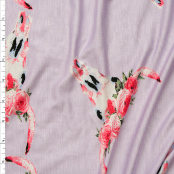 Flowers and Bull Skulls on Lavender Stretch Rayon Jersey Knit Fabric By The Yard