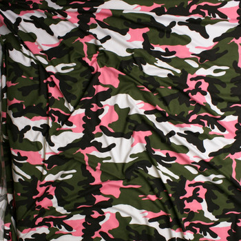 Olive, Black, White, and Neon Pink Camouflage Double Brushed Poly/Spandex Knit Fabric By The Yard - Wide shot