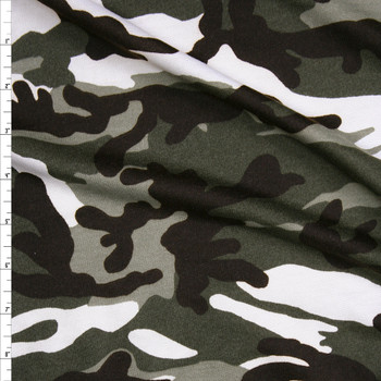 Olive, Brown, and Offwhite Camouflage French Terry Fabric By The Yard