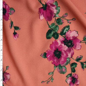 Fuchsia and Green Floral on Dusty Coral Liverpool Knit Fabric By The Yard