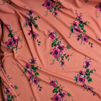 Fuchsia and Green Floral on Dusty Coral Liverpool Knit Fabric By The Yard - Wide shot