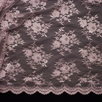 Blush Chantilly Lace Fabric By The Yard - Wide shot