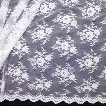 White Chantilly Lace Fabric By The Yard - Wide shot