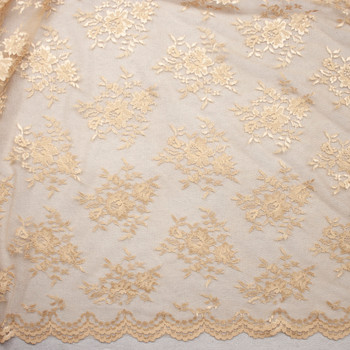 Tan Chantilly Lace Fabric By The Yard - Wide shot