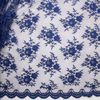 Navy Chantilly Lace Fabric By The Yard - Wide shot