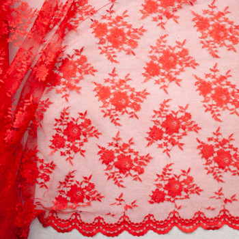 Red Chantilly Lace Fabric By The Yard - Wide shot