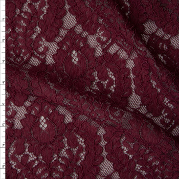 Merlot Designer Corded Lace Fabric By The Yard
