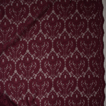 Merlot Designer Corded Lace Fabric By The Yard - Wide shot