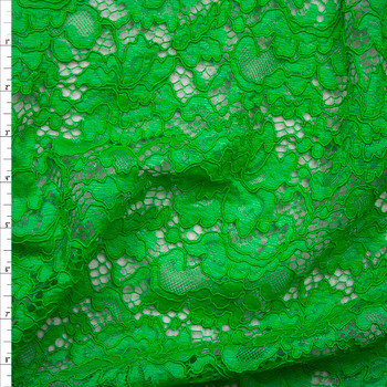 Lime Green Floral Corded Lace Fabric By The Yard