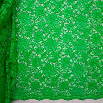 Lime Green Floral Corded Lace Fabric By The Yard - Wide shot