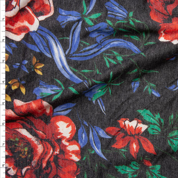 Red, Blue, Green, and Yellow Floral on Charcoal Heather French Terry Fabric By The Yard
