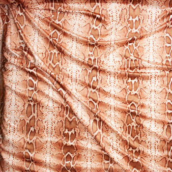 Brown and Tan Snakeskin 4-way Stretch Velvet Fabric By The Yard - Wide shot