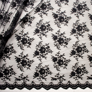 Black Chantilly Lace Fabric By The Yard - Wide shot