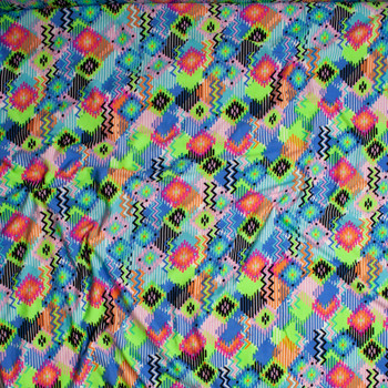Multi Colored Southwestern Inspired Double Brushed Poly Spandex Fabric By The Yard - Wide shot
