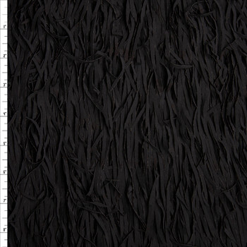 "Black 5"" Layered Fringe Fabric Fabric By The Yard"