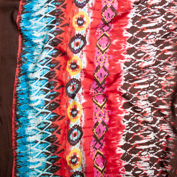 Brown, Red, Aqua, an Hot Pink Bohemian Border Print Rayon Challis Fabric By The Yard - Wide shot