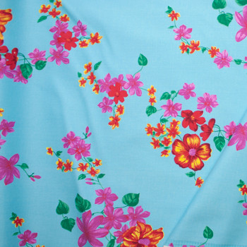 Pink, Red, and Yellow Floral on Bright Aqua Stretch Twill Fabric By The Yard - Wide shot