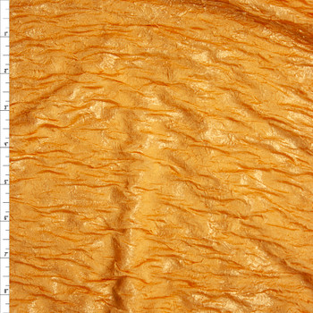 Metallic Gold on Golden Yellow Double Layered Stretch Crinkle Knit Fabric By The Yard