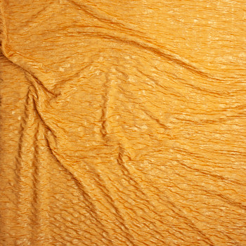 Metallic Gold on Golden Yellow Double Layered Stretch Crinkle Knit Fabric By The Yard - Wide shot