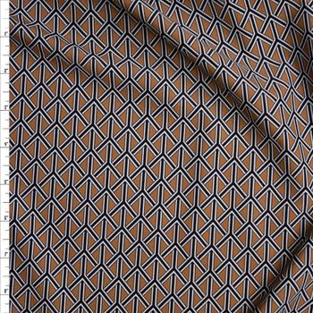 Black, White, and Brown Braided Geometric Nylon/Spandex Fabric By The Yard