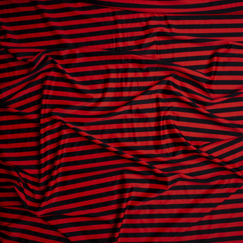 Red and Black Horizontal Stripe Nylon/Spandex Fabric By The Yard - Wide shot