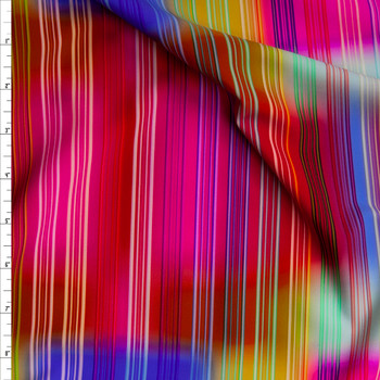 Neon Vertical Stripes on Blurred Neon Square Pattern Nylon/Spandex Fabric By The Yard