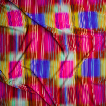 Neon Vertical Stripes on Blurred Neon Square Pattern Nylon/Spandex Fabric By The Yard - Wide shot
