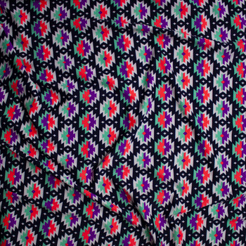 Pink, Purple, Mint, and White Southwestern Medallions on Dark Navy Nylon/Spandex Fabric By The Yard - Wide shot