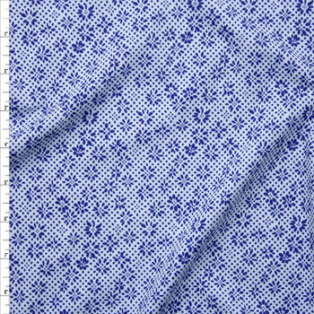 Blue Dots and Flowers on White Nylon/Spandex Fabric By The Yard
