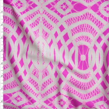Hot Pink and White Braided Medallion Nylon/Spandex Fabric By The Yard