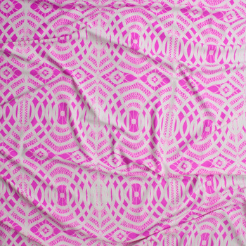 Hot Pink and White Braided Medallion Nylon/Spandex Fabric By The Yard - Wide shot