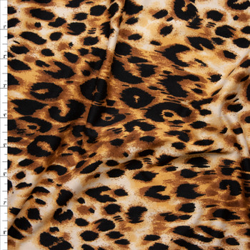 Tan and Black Cheetah Print Double Brushed Poly Spandex Fabric By The Yard