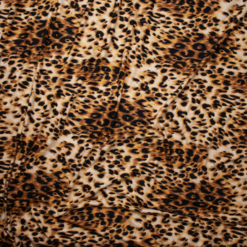 Tan and Black Cheetah Print Double Brushed Poly Spandex Fabric By The Yard - Wide shot