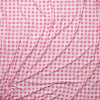 "Pink and White 1/2"" Gingham Double Brushed Poly Spandex Fabric By The Yard - Wide shot"